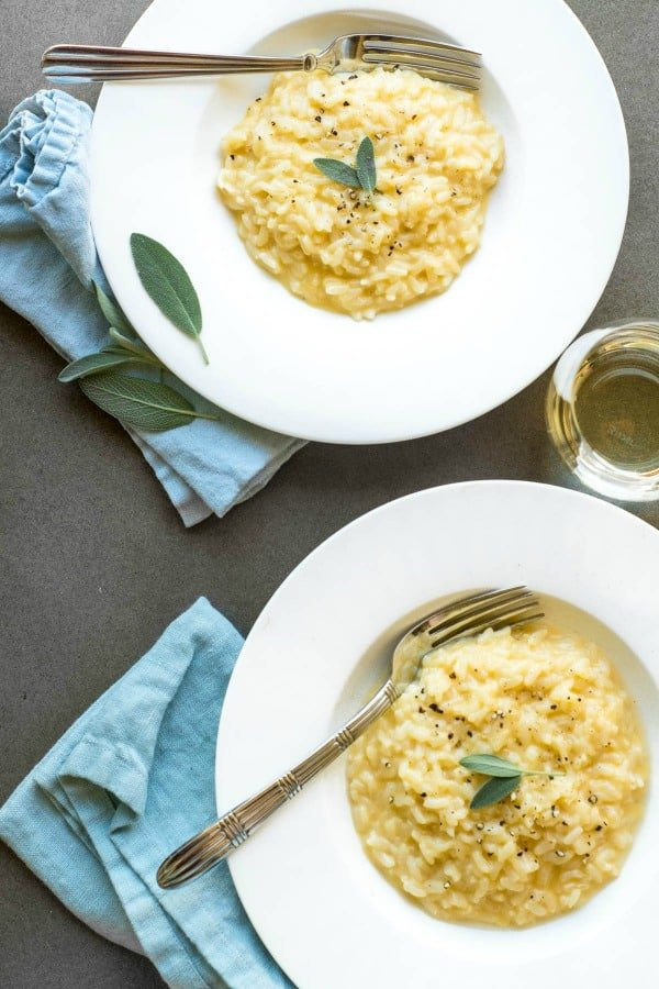 2 bowls of instant pot cheddar risotto with sage