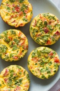 mini frittata muffins overhead close up