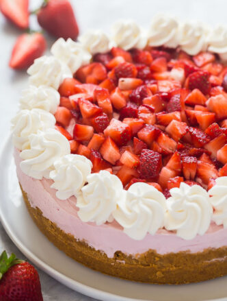 no bake strawberry cheesecake whole
