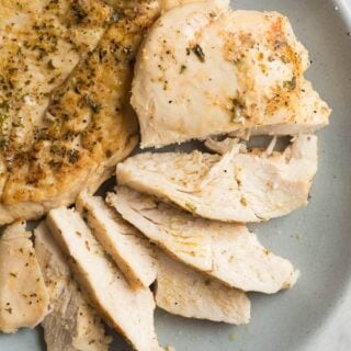 crockpot chicken breast on blue plate