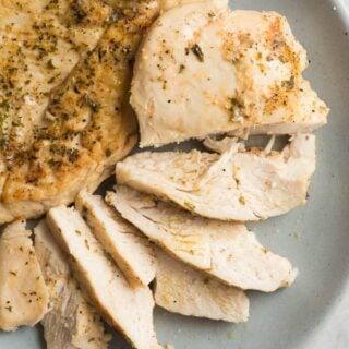 crockpot chicken breast on blue plate