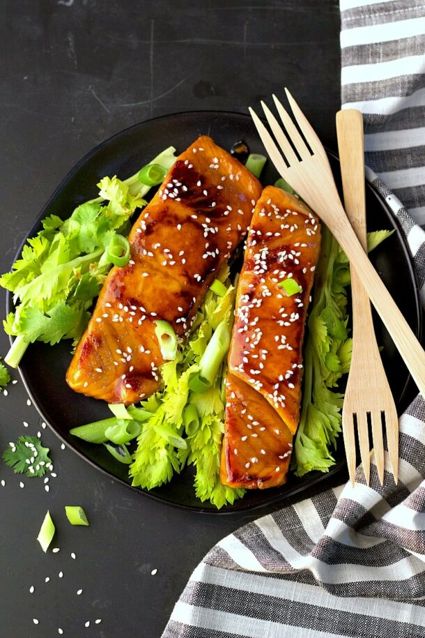 soy free Asian salmon on black plate