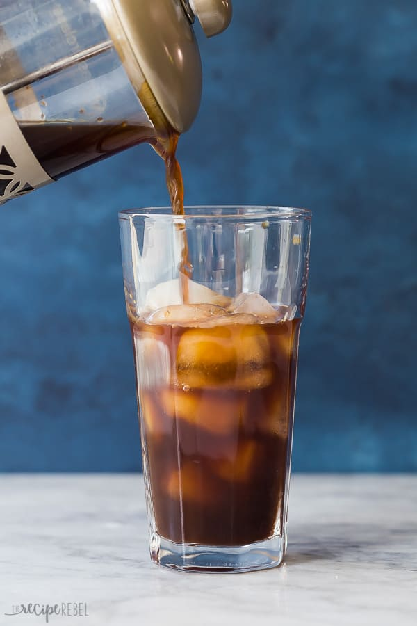 cold brew coffee with ice in a glass