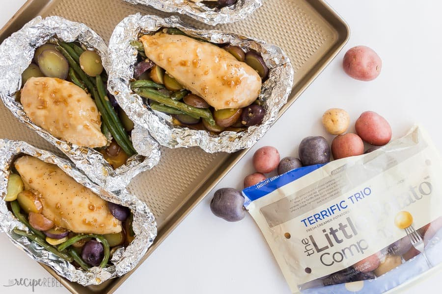 chicken foil packets with potatoes overhead