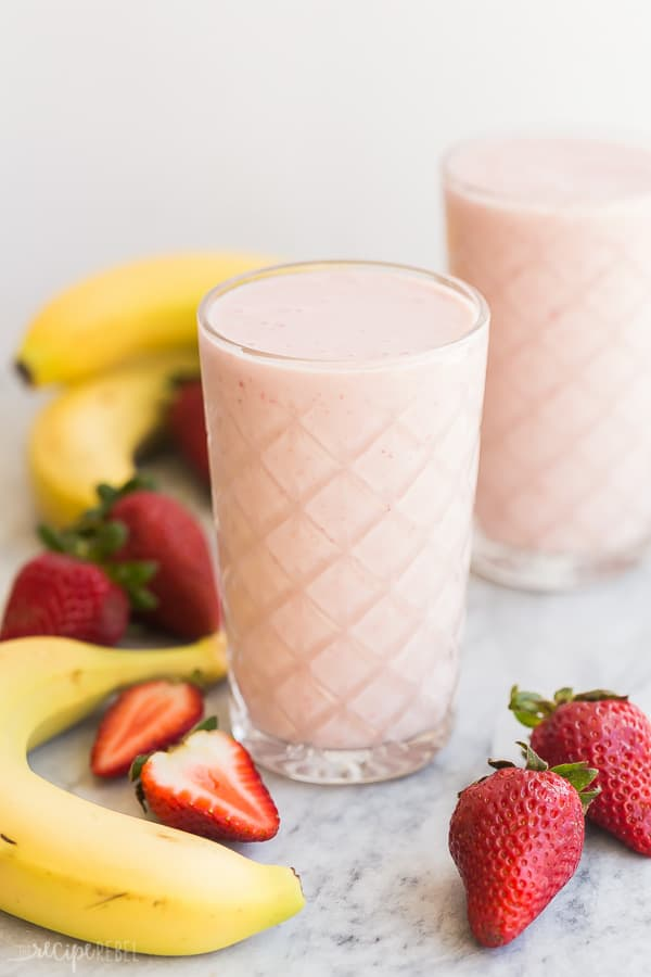 strawberry banana smoothie in clear glass