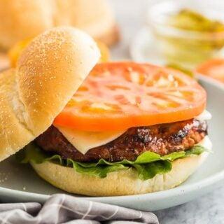 grilled turkey burgers on a bun