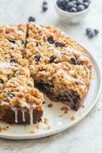 blueberry coffee cake whole with glaze