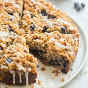 blueberry coffee cake whole with glaze