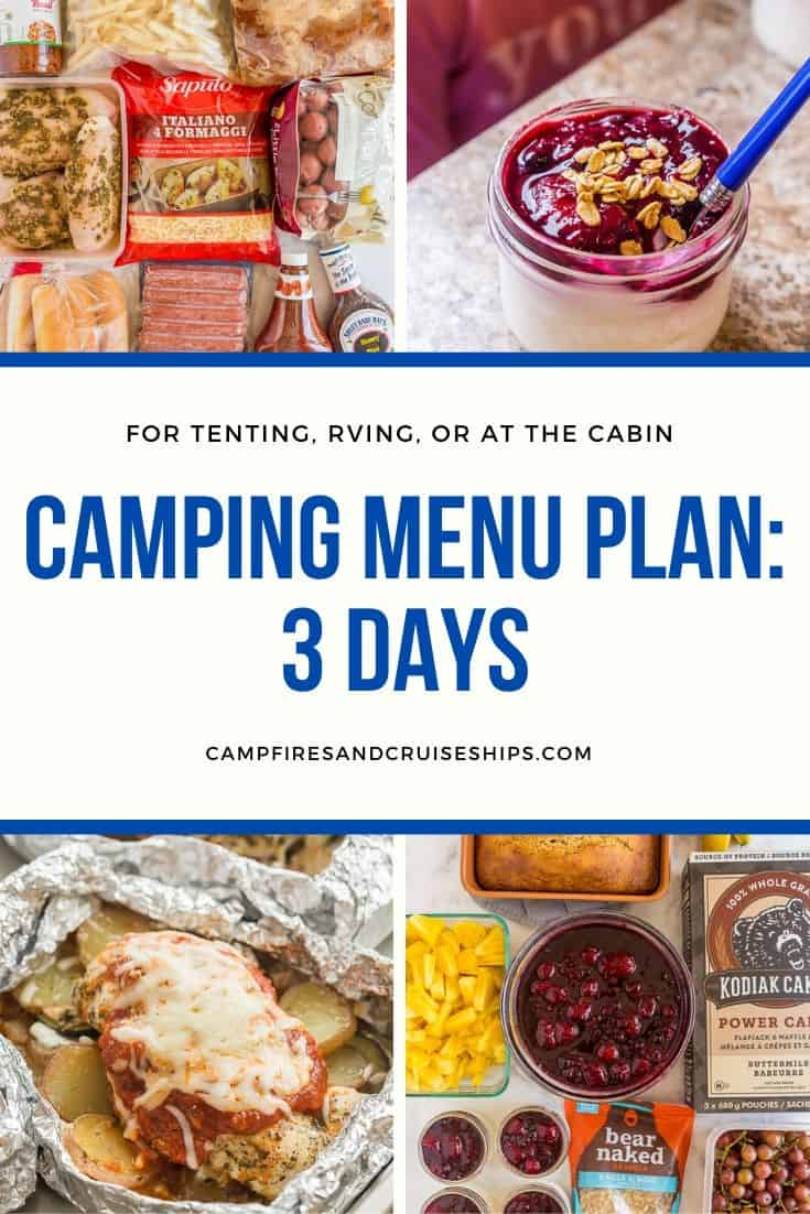 camping menu plan collage with white background and blue text