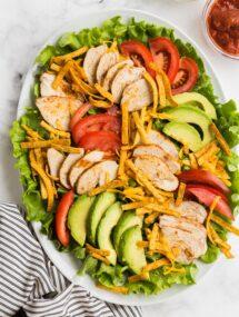 chicken taco salad on white plate