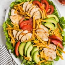 chicken taco salad on white plate