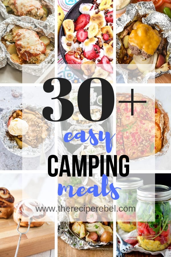 easy camping meals collage short with title in black and blue