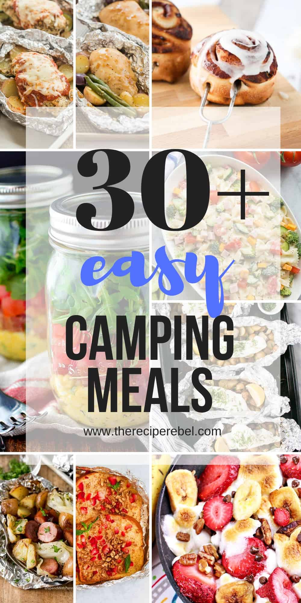 easy camping meals collage with title 30 easy camping meals in black text
