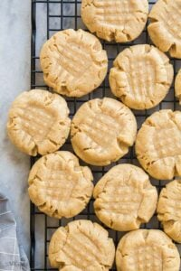 peanut butter cookies on wire rack