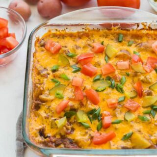 cheeseburger casserole in pan