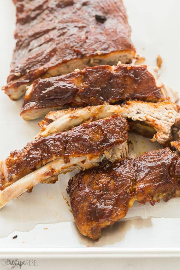 instant pot ribs close up cut into pieces with bbq sauce