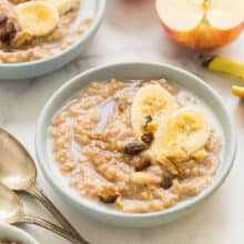 slow cooker oatmeal in blue bowls