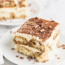 close up slice of easy tiramisu recipe