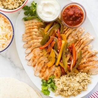 crockpot chicken fajitas on platter