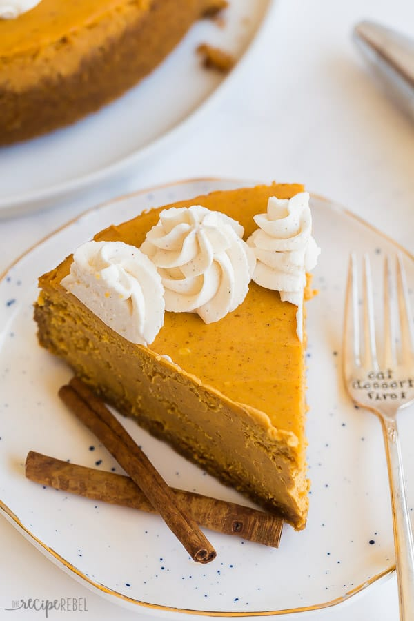 pumpkin cheesecake slice close