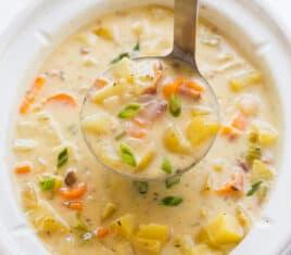 crockpot potato soup in slow cooker