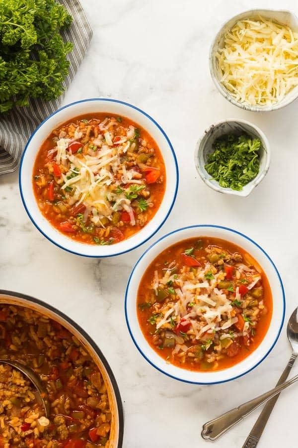 stuffed pepper soup in bowls