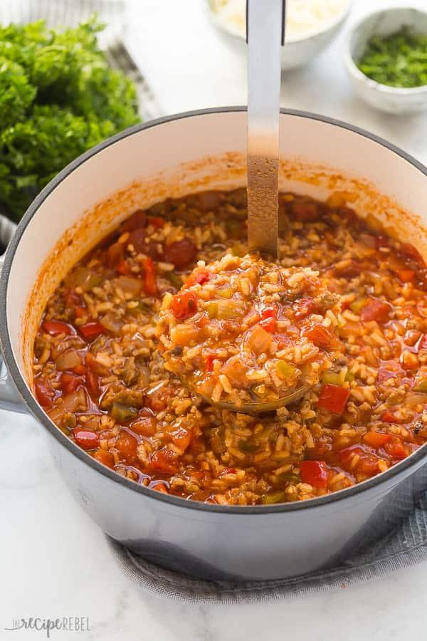 stuffed pepper soup in pot