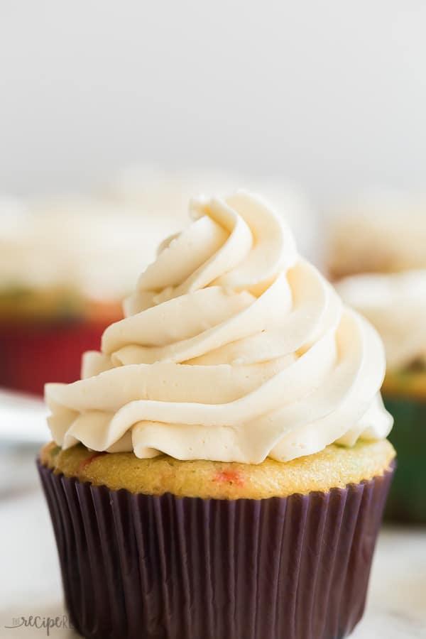 vanilla buttercream frosting close up