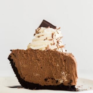 french silk chocolate pie close up