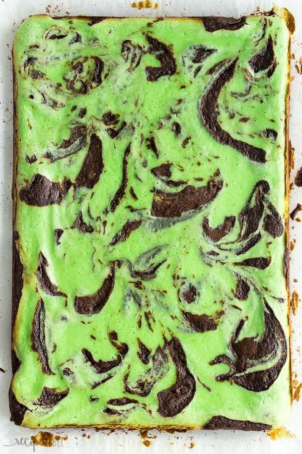 mint cream cheese brownies whole on piece of parchment paper