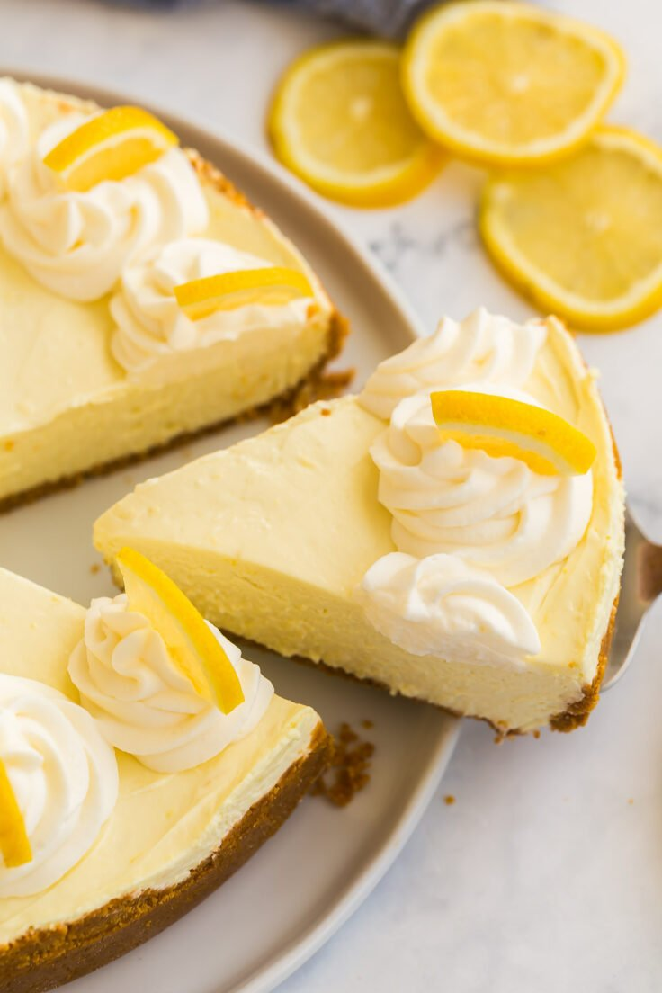 slice of lemon cheesecake being pulled out