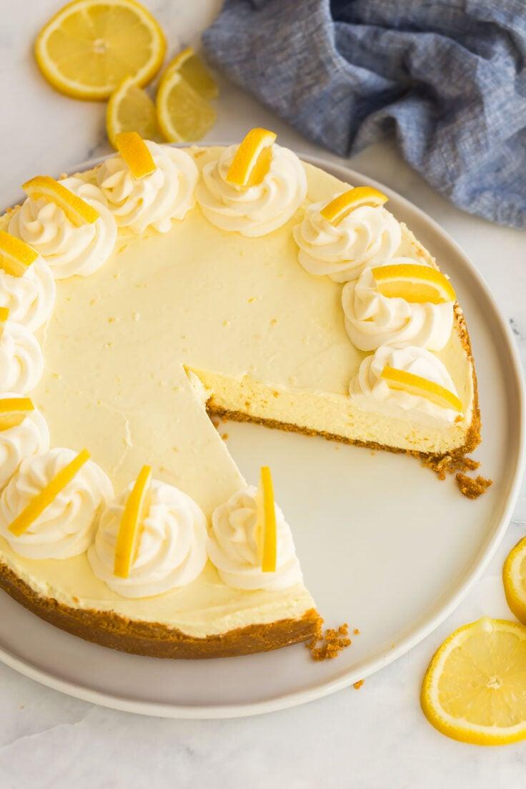 whole lemon cheesecake missing one piece