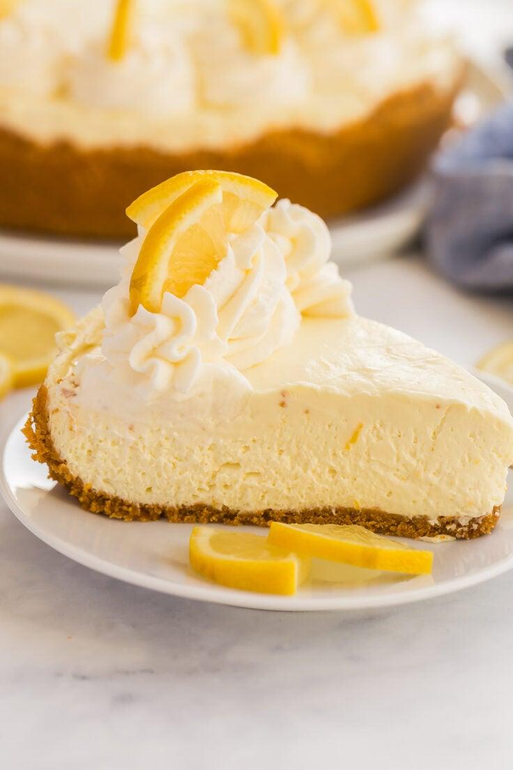 slice of no bake lemon cheesecake on white plate