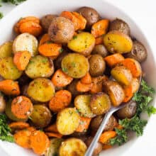 roasted potatoes and carrots in bowl