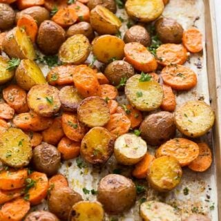 roasted potatoes and carrots on pan