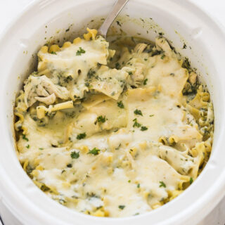 crockpot white chicken lasagna in slow cooker