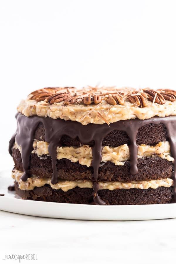german chocolate cake whole with pecan frosting and chocolate ganache