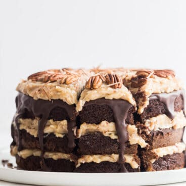 german chocolate cake with slice
