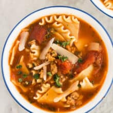 lasagna soup in bowl