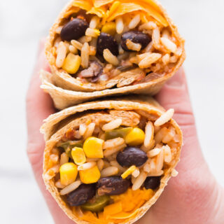 slow cooker vegetarian burrito wrapped