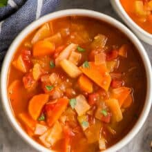 cabbage soup in bowl