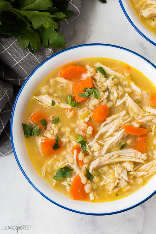 chicken barley soup close up