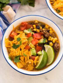 taco soup in white bowl