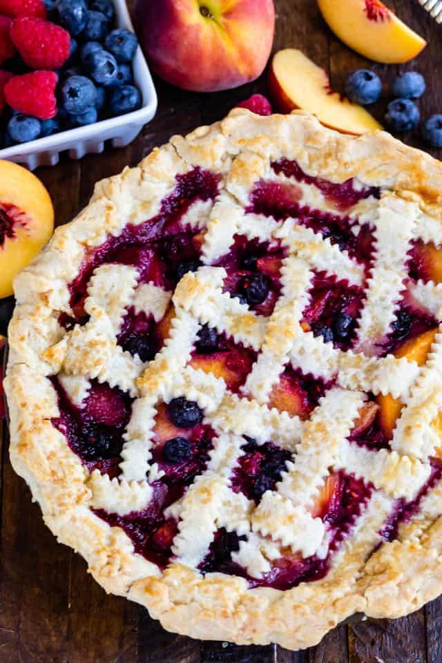 raspberry peach blueberry pie