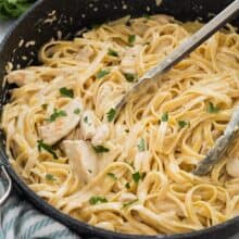 chicken fettuccine alfredo in pot