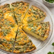crustless quiche in pan