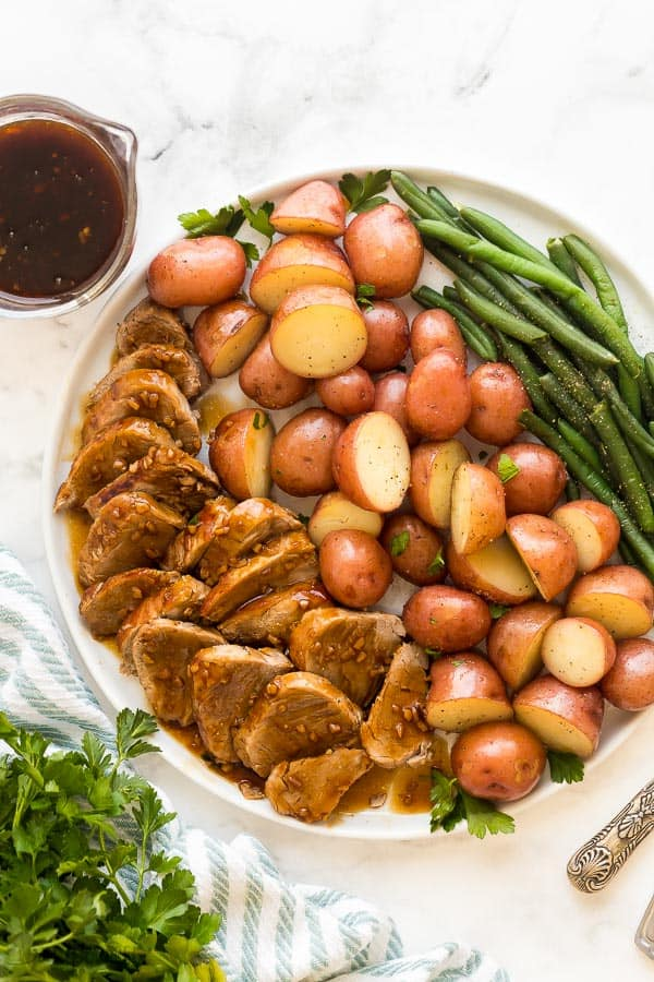 instant pot pork tenderloin and potatoes with honey garlic sauce