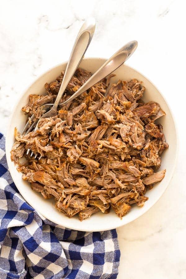 instant pot pulled pork in bowl