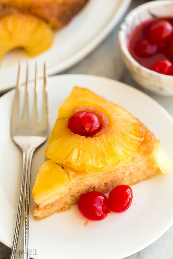 pineapple upside down cake on white plate