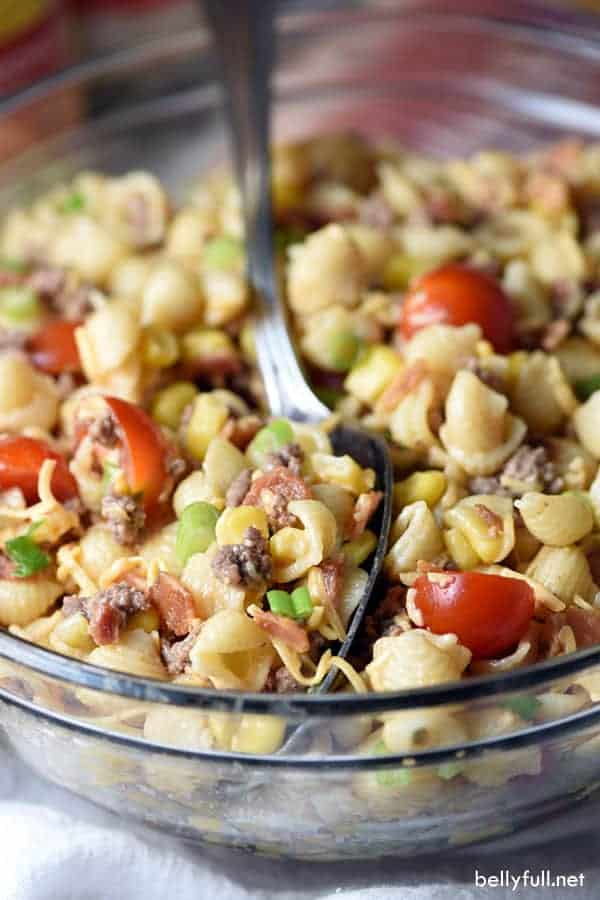 cowboy pasta salad with ground beef and bacon